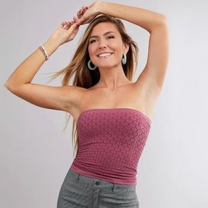 NWT Free People Honey Textured Tube Top In Mauve